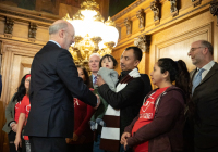 January 28, 2020:  Senator Tartaglione join the governor and workers to  call to raise Pennsylvania's minimum wage.