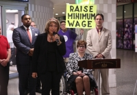 "May 23, 2019 – As part of a statewide ""RealJobs RealPay"" Day of Action, Senator Tartaglione visited La Barberia in Suburban Station and highlighted the benefits of raising the minimum wage."