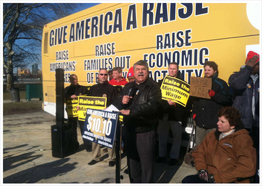AFL-CIO president Richard Trumka speaks at a rally near the Art Museum in support of raising the minimum wage. In New Jersey, a group launched a website arguing against a higher wage. JANE M. VON BERGEN / Staff
