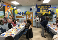"""October 18, 2019:  Senator Tartaglione helped the Peter Bressi Northeast Senior Center celebrate its 35th anniversary in a big way on Friday as she announced that the center has been awarded a $100,000 grant from the state to grow its programming for seniors in the Frankford section of Philadelphia.  """"This is for all the hard work that you do with such little money,"""" Senator Tartaglione told dozens of the center's members during their anniversary lunch. """"And you try to expand your services. So this is truly my pleasure."""""""