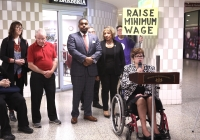 """May 23, 2019 – As part of a statewide """"RealJobs RealPay"""" Day of Action, Senator Tartaglione visited La Barberia in Suburban Station and highlighted the benefits of raising the minimum wage."""
