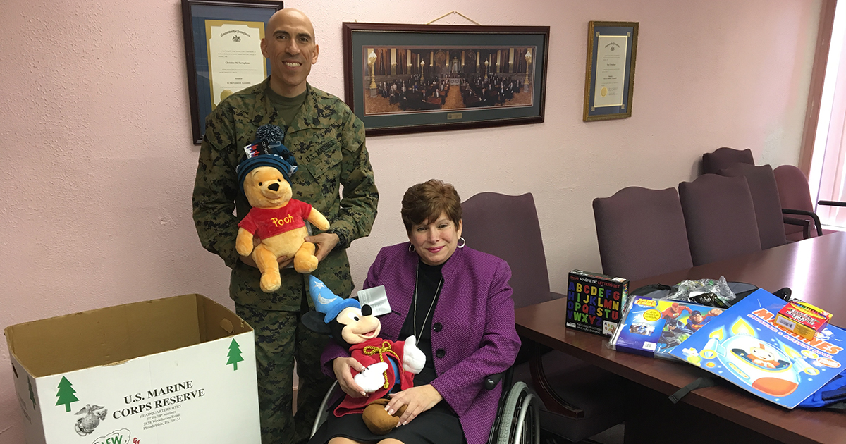 Coloring Page Toys For Tots : Sen tartaglione presents toys for tots donation box to
