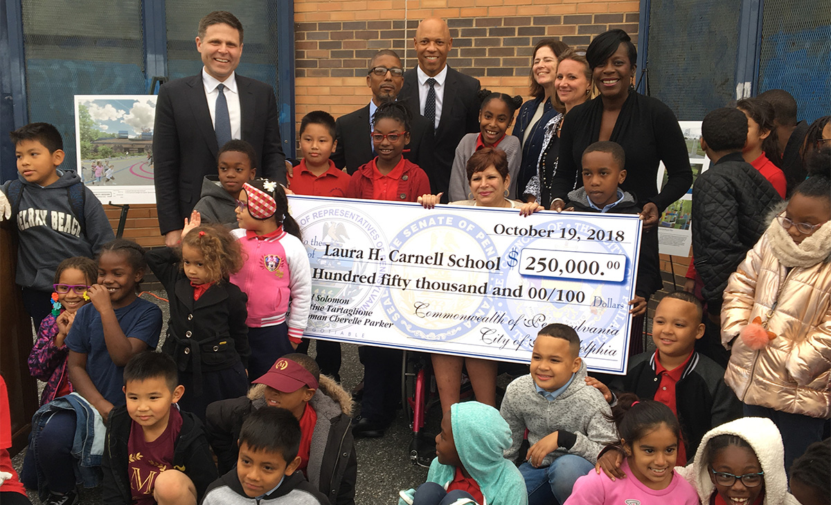 State and City Officials Present $250,000 in Funding for New Green Playspace at Philadelphia Elementary School
