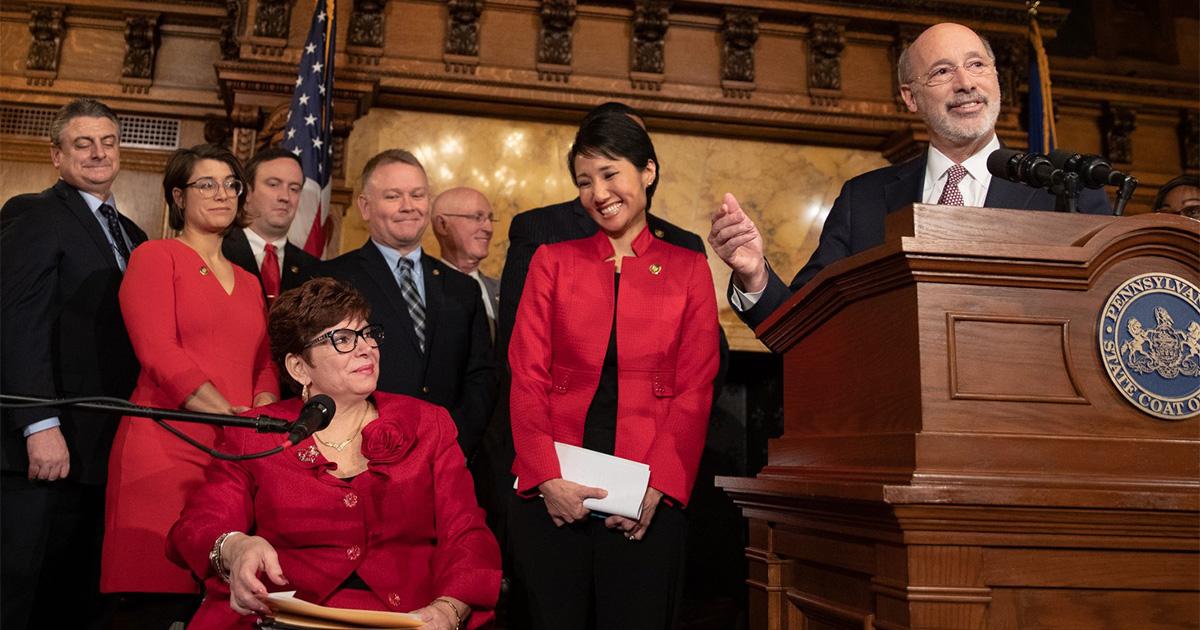 Senator Christine Tartaglione, Rep. Patty Kim, Gov. Tom Wolf
