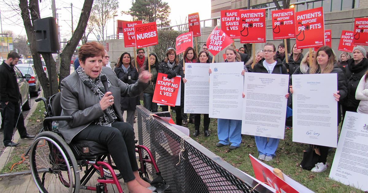 State Sen. Christine M. Tartaglione (D-Philadelphia) joined picket lines today at two Philadelphia hospitals where registered nurses are fighting for a safe staffing commitment and fair compensation from their common employer.