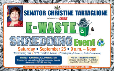 Senator Tartaglione to Host Free Document Shredding & E-Recycling Event on Saturday, September 25th